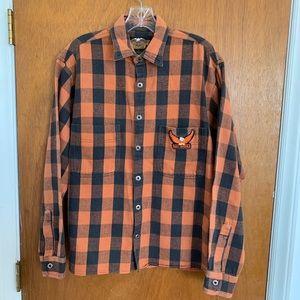 Harley Davidson Small Orange Black Plaid Shirt